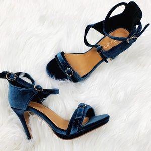 "Sexy Ankle Strap Blue Velvet 4"" Heels"